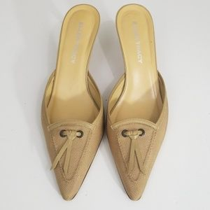 Tan Mules by Ellen Tracy Made  in Italy sz 9